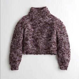 Chunky purple knit turtle neck sweater